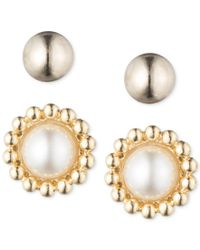 Anne Klein - Metallic Gold-tone Two Stud Earring Set - Lyst