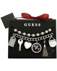 Guess - Metallic Silver-tone Charm And Imitation Pearl Bracelet Set - Lyst