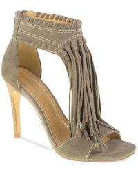 Chinese Laundry - Gray Santa Fe Fringe Sandals - Lyst