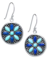 Macy's | Blue Manufactured Turquoise And Lapis Drop Earrings In Sterling Silver | Lyst