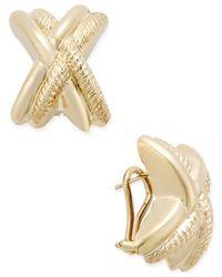 Macy's - Metallic Etched X Clip-on Earrings In 14k Gold - Lyst