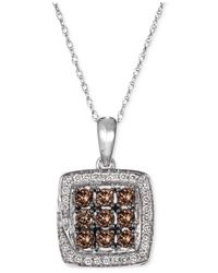 Macy's | Le Vian Chocolatier Chocolate Deco Diamond (1/2 Ct. T.w.) And White Diamond (1/8 Ct. T.w.) Pendant Necklace In 14k White Gold | Lyst