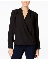 INC International Concepts - Black Long-sleeve Surplice Blouse, Only At Macy's - Lyst