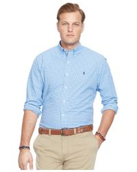 Polo Ralph Lauren | Blue Big And Tall Plaid Poplin Shirt for Men | Lyst
