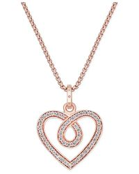 Thomas Sabo | Metallic Glam & Soul White Zirconia Heart Pendant Necklace In 18k Rose Gold-plated Sterling Silver | Lyst
