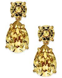kate spade new york | Metallic Gold-tone Crystal Drop Earrings | Lyst