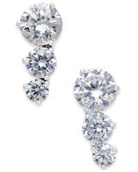 Danori   Metallic Silver-tone Three Crystal Earrings   Lyst