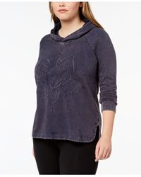 Style & Co. - Blue Plus Size Cotton Embroidered Hoodie - Lyst