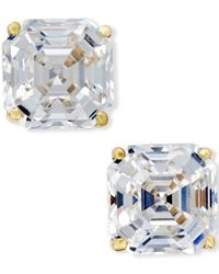 Macy's - White Cubic Zirconia Stud Earrings In 14k Gold - Lyst