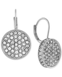 Vince Camuto | Metallic Silver-tone Crystal Disc Drop Earrings | Lyst