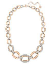 Swarovski - Metallic Two-tone Pave Link Statement Necklace - Lyst