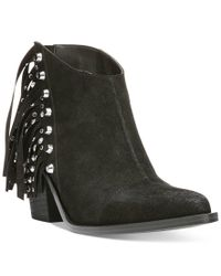 Fergie - Black Bennie Fringe Booties - Lyst