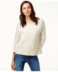 Lucky Brand | Natural Knit Paneled Sweatshirt | Lyst