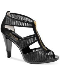 Michael Kors | Black Michael Berkley T-strap Sandals | Lyst