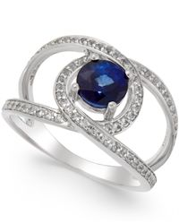 Macy's | Blue Sapphire (1-1/4 Ct. T.w.) And White Sapphire (3/4 Ct. T.w.) Openwork Ring In Sterling Silver | Lyst