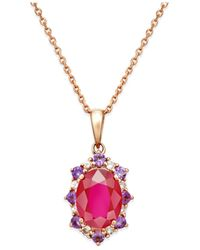 Macy's   Red Multi-stone Starburst Pendant Necklace (2-1/4 Ct. T.w.) In 10k Rose Gold   Lyst