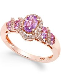 Macy's | Pink Purple Sapphire (3/4 Ct. T.w.) And Diamond (1/5 Ct. T.w.) Ring In 14k Rose Gold | Lyst