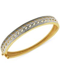 Macy's | Metallic Diamond Accented Cut-out Hinged Bangle Bracelet In 18k Gold Over Silver-plated Bronze | Lyst