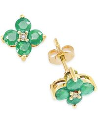 Macy's - Green Emerald (1-1/6 Ct. T.w.) And Diamond Accent Flower Stud Earrings In 10k Gold - Lyst