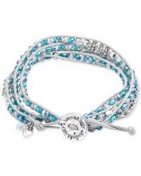 Lonna & Lilly - Silver-tone And White Cord Blue Bead Wrap Bracelet - Lyst