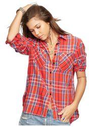 Denim & Supply Ralph Lauren   Red Flannel Utility Shirt   Lyst