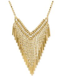 Macy's | Metallic Graduated Beaded Frontal Necklace In 14k Gold | Lyst