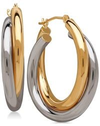 Macy's | Metallic Two-tone Double Overlapped Hoop Earrings In 14k Gold And 14k White Gold | Lyst