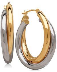 Macy's - Metallic Double Overlapped Hoop Earrings In 14k Gold And 14k White Gold - Lyst
