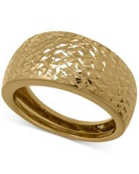 Macy's   Brown X-cut Wide Band Ring In 14k Gold   Lyst