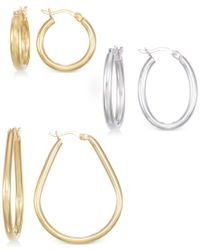 Macy's - Set Of Three Hoop Earrings In 14k Gold, White Gold And Rose Gold Vermeil - Lyst
