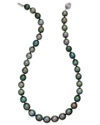 Macy's - Cultured Tahitian Black Pearl (10-12mm) Strand Necklace In 14k White Gold - Lyst