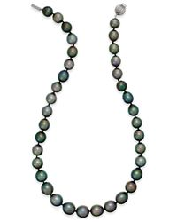 Macy's | Metallic Cultured Tahitian Black Pearl (10-12mm) Strand Necklace In 14k White Gold | Lyst