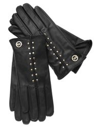 Michael Kors | Black Michael Leather Astor Studded Gloves With Touch Tips | Lyst