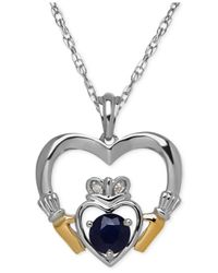 Macy's | Metallic Sapphire (2/3 Ct. T.w.) And Diamond Accent Heart Pendant Necklace In Sterling Silver And 14k Gold | Lyst