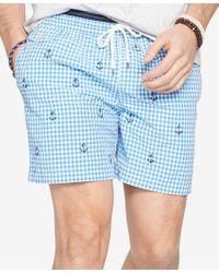 Polo Ralph Lauren - Blue Men's Gingham Traveler Swim Shorts for Men - Lyst