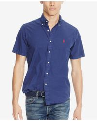 Polo Ralph Lauren - Blue Men's Short-sleeve Silk Shirt for Men - Lyst