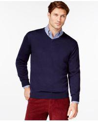 Cutter & Buck | Blue Men's Big And Tall Douglas V-neck Sweater for Men | Lyst