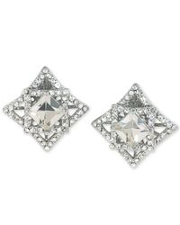 Carolee | Multicolor Silver-tone Geometric Crystal Clip-on Earrings | Lyst