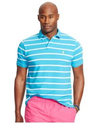 Polo Ralph Lauren | Blue Men's Big And Tall Striped Mesh Polo Shirt for Men | Lyst