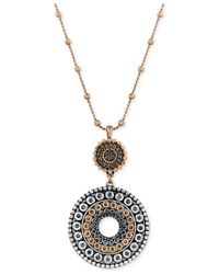 Lucky Brand | Metallic Two-toned Decorated Disc Pendant Necklace | Lyst