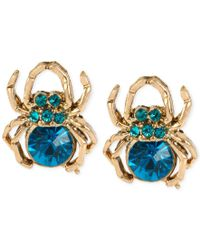 Betsey Johnson | Gold-tone Blue Stone Spider Stud Earrings | Lyst