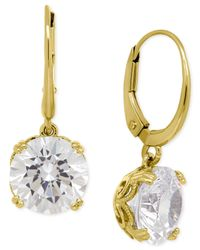 Macy's - Metallic Cubic Zirconia Leverback Earrings In 14k Gold Over Sterling Silver - Lyst