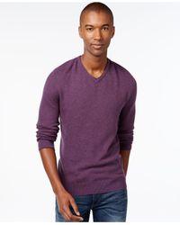 Vince Camuto | Purple Plait-knit V-neck Sweater for Men | Lyst