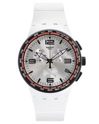 Swatch | Unisex Swiss Chronograph Tech Mode White Rubber Strap Watch 42mm Susw405 for Men | Lyst