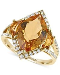 Effy Collection | Metallic Citrine (4-1/5 Ct. T.w.) And Diamond (1/4 Ct. T.w.) Ring In 14k Gold | Lyst