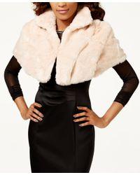Tahari | Pink Faux-fur Caplet Shawl | Lyst