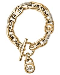 Michael Kors | Metallic Gold-tone Link Bracelet With Pave Crystal Accents- First At Macy's | Lyst
