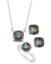 Macy's | Metallic Mystic Topaz Pendant Necklace, Stud Earrings And Ring Box Set (8-2/3 Ct. T.w.) In Sterling Silver | Lyst