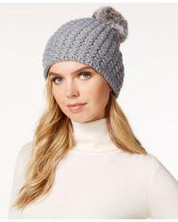 Surell   Gray Star Stitched Knit Rabbit Fur Pom Hat   Lyst