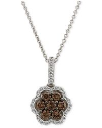 Le Vian | Brown Chocolatier® Diamond Flower Pendant Necklace (5/8 Ct. T.w.) In 14k White Gold | Lyst